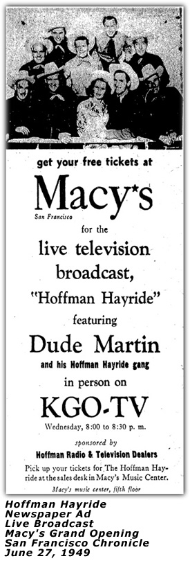 First Anniversary Show Ad at Jackson's September 1949