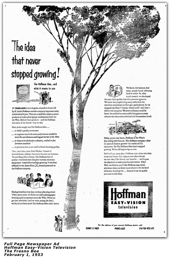 Hoffman Television Newspaper Ad 1953
