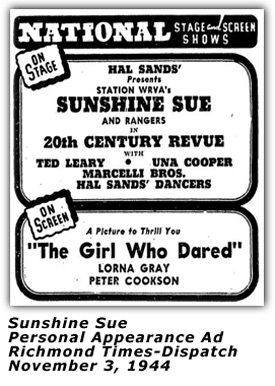 Sunshine Sue - Nov 1944 Ad