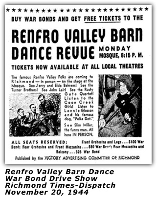 Renfro Valley Barn Dance Bond Show Ad Nov 1944