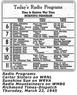 Radio Programs March 22 1945