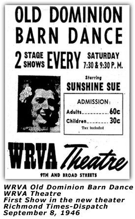 WRVA Theater First Show Ad Sep 1946