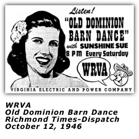 WRVA Old Dominion Barn Dance Ad - Sunshine Sue - Oct 12 1946