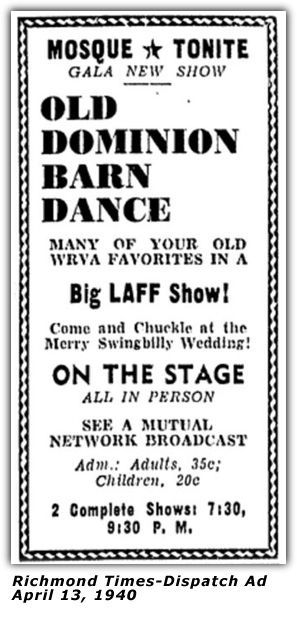 WRVA Old Dominion Barn Dance Ad 1940