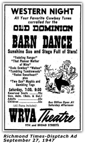 WRVA Old Dominion Barn Dance Ad 1947