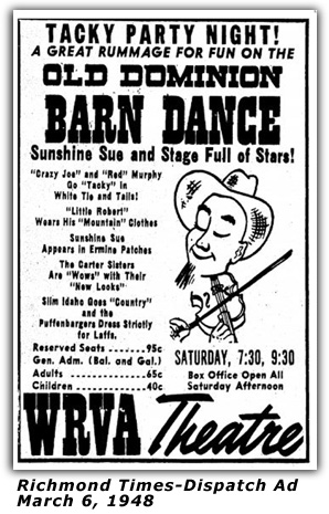 WRVA Old Dominion Barn Dance Ad 1948