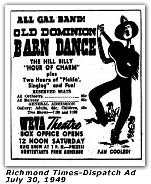 WRVA Old Dominion Barn Dance Ad 1949