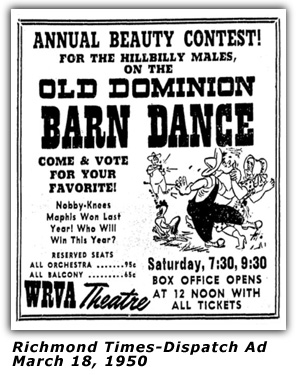 WRVA Old Dominion Barn Dance Ad 1950
