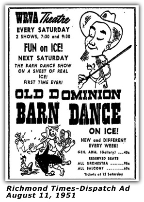 WRVA Old Dominion Barn Dance Ad 1951