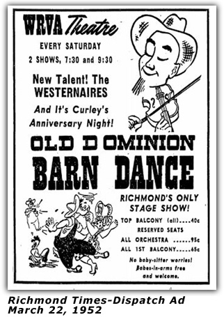 WRVA Old Dominion Barn Dance Ad 1952