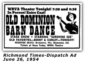 WRVA Old Dominion Barn Dance Ad 1954