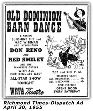 WRVA Old Dominion Barn Dance Ad 1955
