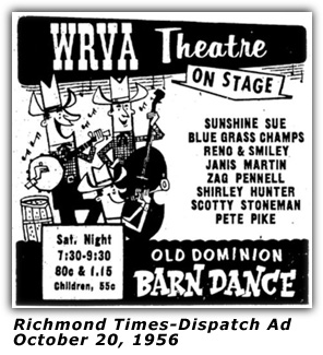 WRVA Old Dominion Barn Dance Ad 1956