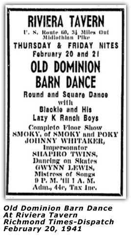 Old Dominion Barn Dance - Feb 20 1941 Ad