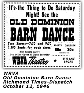 WRVA Old Dominion Barn Dance Ad - Theme - Oct 12 1946