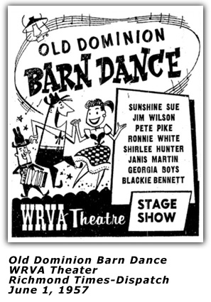 WRVA Old Dominion Barn Dance Ad - June 1 1957