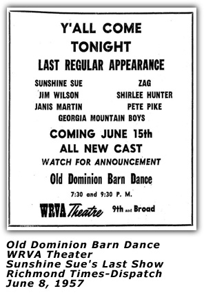 WRVA Old Dominion Barn Dance Ad - Last Show - June 8 1957