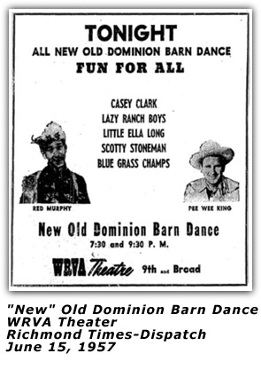 WRVA Old Dominion Barn Dance Ad - June 15 1957