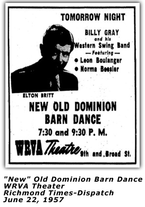WRVA Old Dominion Barn Dance Ad - Last Show - June 22 1957