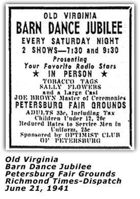 Old Dominion Barn Dance - June 21 1941 Ad
