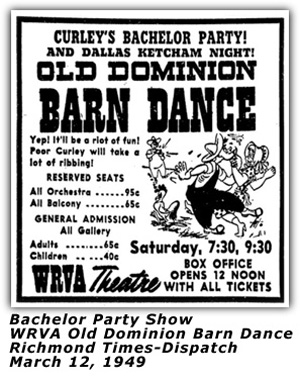 WRVA Old Dominion Barn Dance Ad - Hillbilly Style - Dec 17 1949