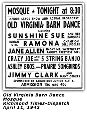 Old Virginia Barn Dance - Apr 11 1942 Ad