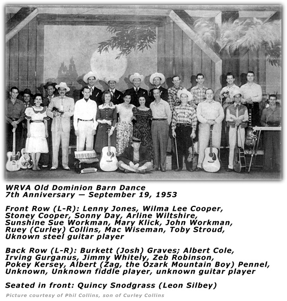 WRVA Old Dominion Barn Dance Cast Sep 19 1953 7th Anniversary
