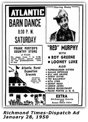 Atlantic Barn Dance Ad - Red Murphy - Jan 28 1950