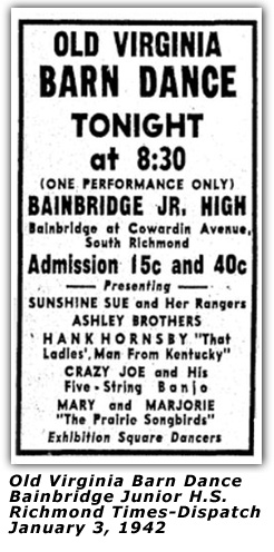 Old Virginia Barn Dance - Jan 3 1942 Ad