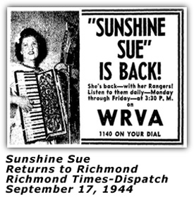Sunshine Sue Returns to WRVA - Sep 1944 Ad