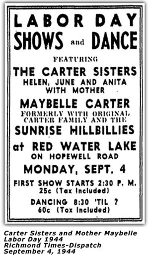 Carter Sisters - Labor Day 1944 Ad