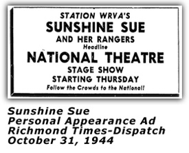 Sunshine Sue - Oct 1944 Ad
