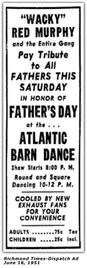 Atlantic Barn Dance Ad - June 16, 1951
