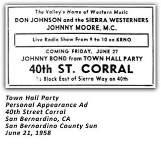 Town Hall Party - Johnny Bond - 40th Street Corral Ad - 1958