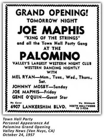 Town Hall Party - Joe Maphis - 1957 Palomino Ad