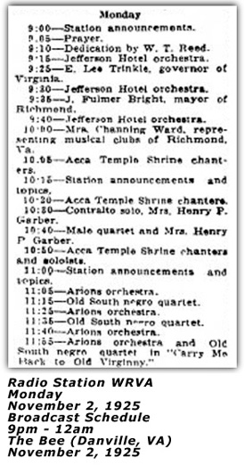 WRVA Broadcast Schedule Nov 2 1925
