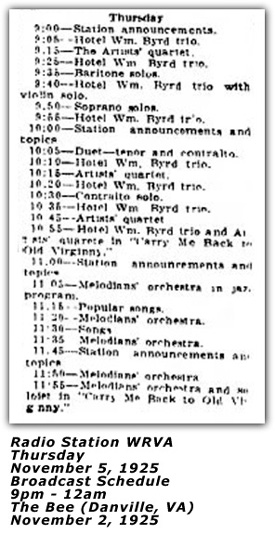 WRVA Broadcast Schedule Nov 5 1925