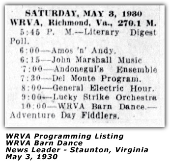 May 3, 1930 - WRVA Barn Dance