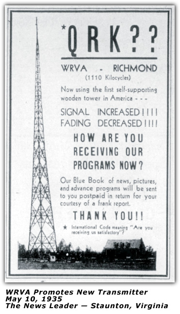 May 1935 - New WRVA Transmitter Ad