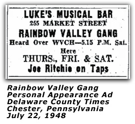 Rainbow Valley Gang - Lukes Musical Bar - July 1948