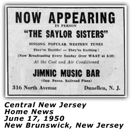 Saylor Sisters - New Jersey 1950