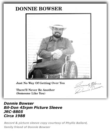 Donnie Bowser - Bil-Don Picture Sleeve