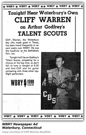 WBRY Arthur Godfrey's Talent Scouts Ad - Cliff Warren