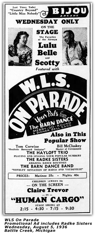 WLS On Parade - Ad - Radke Sisters 1936