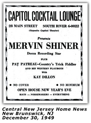 Merv Shiner - 1949 New Year's Eve Ad - New Jersey