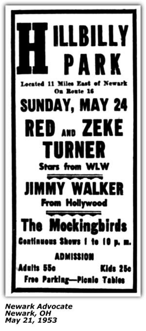 Promo Ad - Hillbilly Park - Jimmy Walker - Newark, OH - May 1953