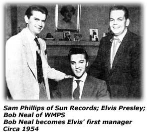 Sam Phillips, Elvis Presley, Bob Neal - 1954