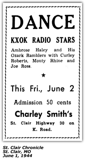 Promo Ad - Charley Smith's - Ambrose Haley Ozark  Ramble rs Monty Rhine Curley Roberts Joe Ross - June 1944