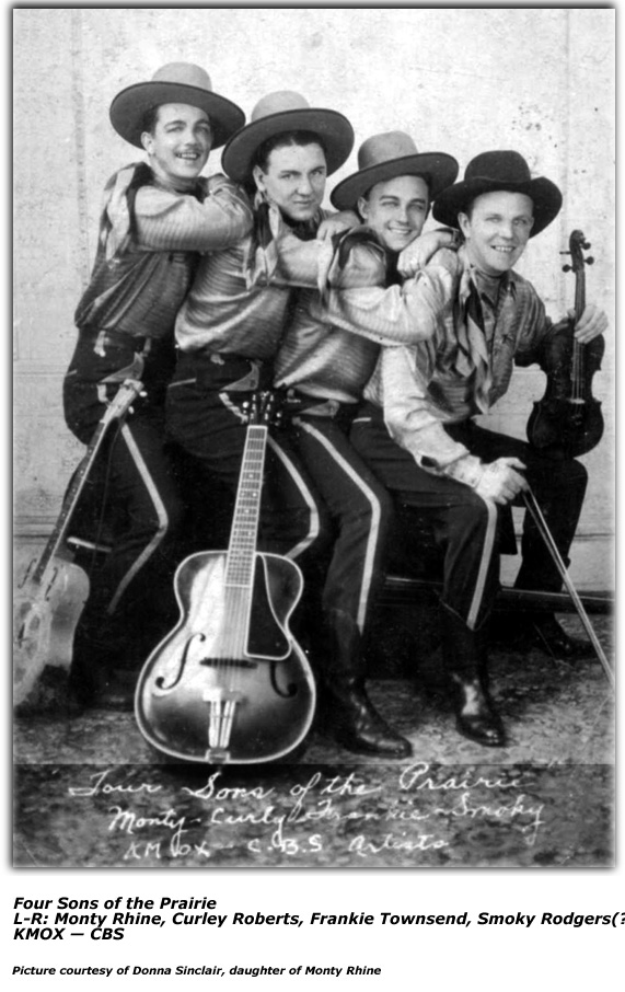Photo - Four Sons of the Prairie - KMOX - late 1930s