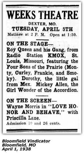 Theater Ad (Bloomfield MO) - Four Sons of the Prairie - April 1938